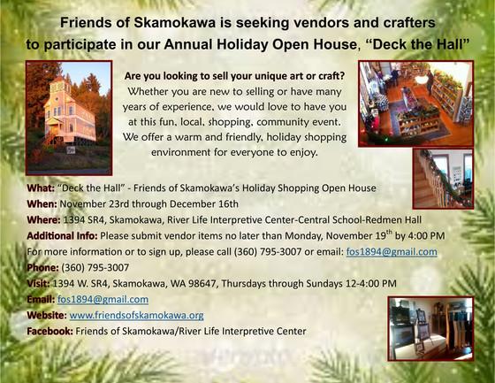 Seeking Vendors for Friends of Skamokawa's Holiday Open House