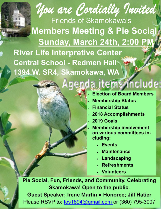 Members Meeting & Pie Social this Sunday March 24th at 2:00 PM