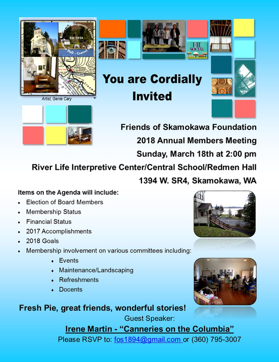 2018 Annual Members Meeting this Sunday, March 18th at 2:00 PM