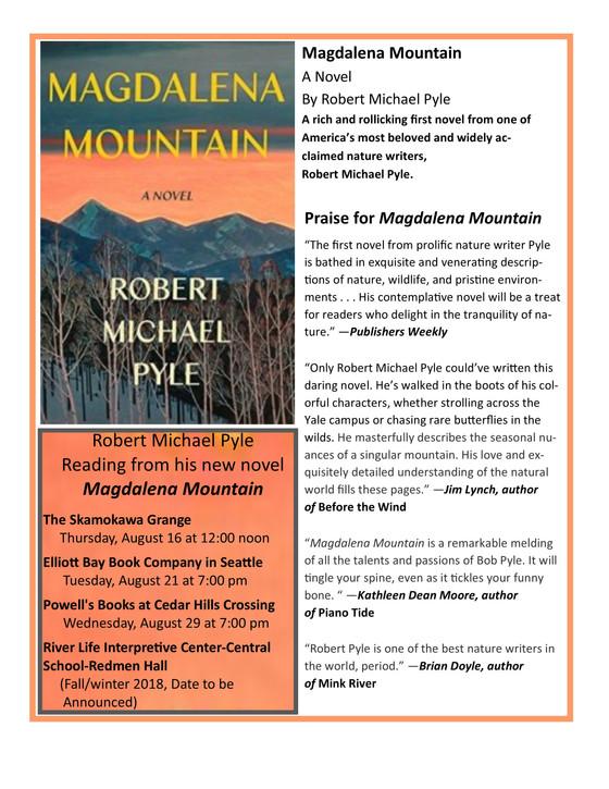 Robert Michael Pyle reading from his new novel, Magdalena Mountain at the Skamokawa Grange on Thursd