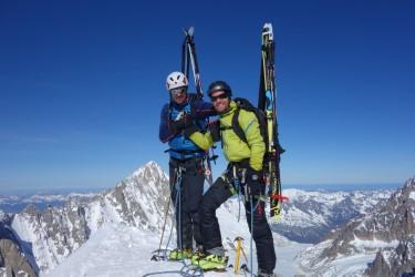 Superbe journée au Mont Dolent avec Nikolai et Roman par l'arête Gallet