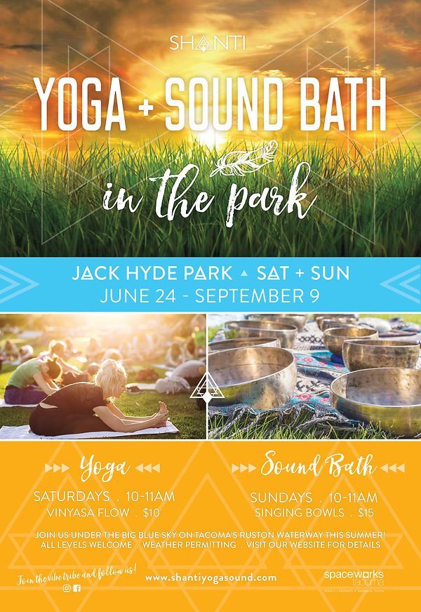 Shanti,  Sound Bath in the Park, Yoga, Sound Bath, Yoga in the Park, Sound Healing, Seattle, Tacoma, Meditation,