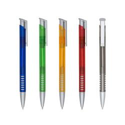 caneta plástica translúcida