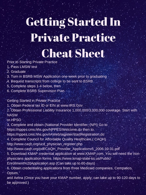 Getting Started in Private Practice Cheat Sheet