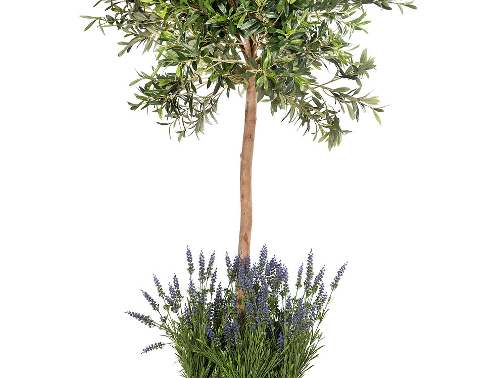 Artificial Olive Tree with Lavender and Stuart Planter