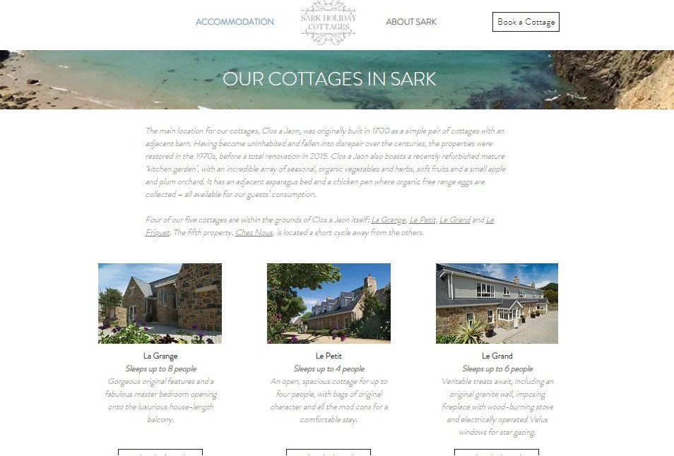 Sark Holiday Cottages - Accommodation Page