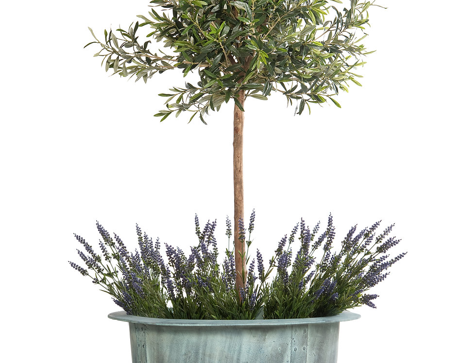 Artificial Olive Tree with Lavender and Norman Planter