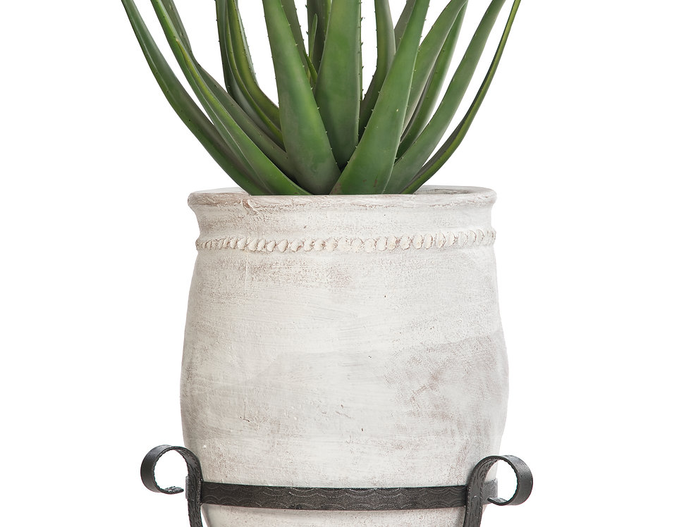 Artificial Aloe Plant with Mediterranean 2 Planter & Stand