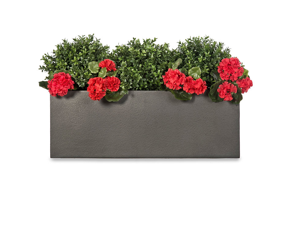 Artificial Box Balls with Geraniums in Geo Window Box
