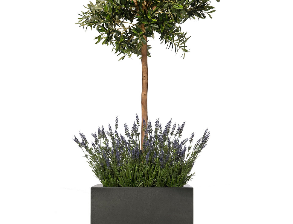 Artificial Olive Tree with Lavender and Geo Cube Planter