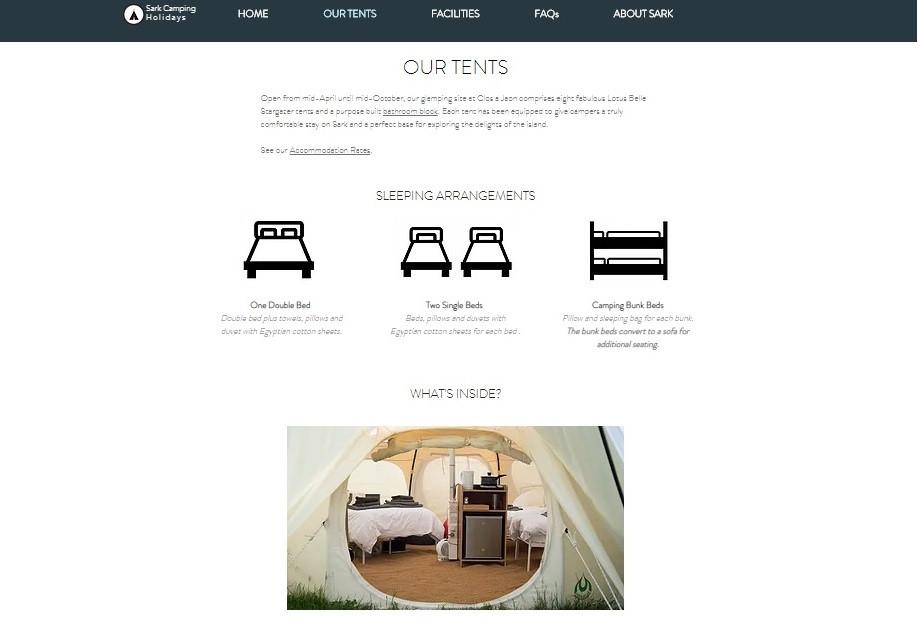 Sark Camping Holidays - Tents Page