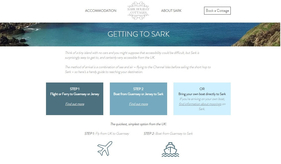 Sark Holiday Cottages - Getting There