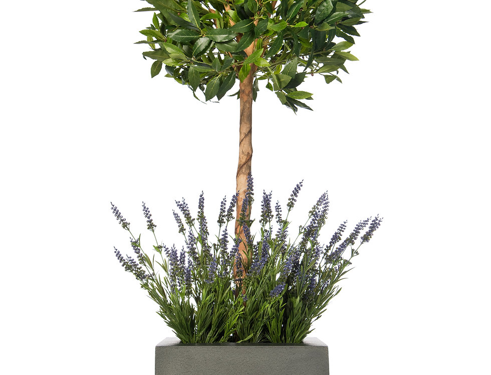 Artificial Bay Tree with Lavender and Geo Cube Planter
