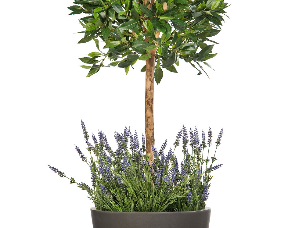 Artificial Bay Tree with Lavender and Geo Round Planter