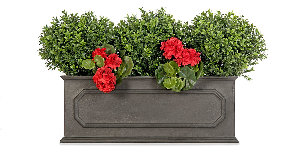 Artificial Box Balls with Geraniums and Stuart Window Box