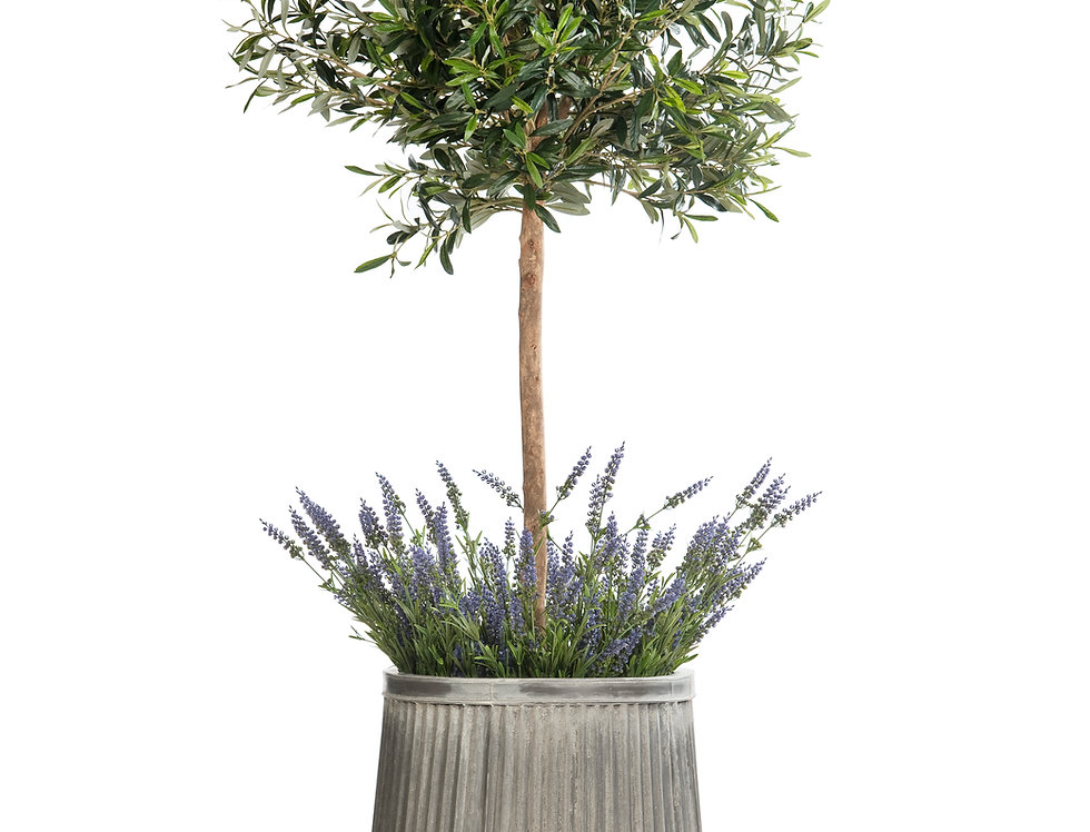 Artificial Olive Tree with Lavender and Dolly Planter