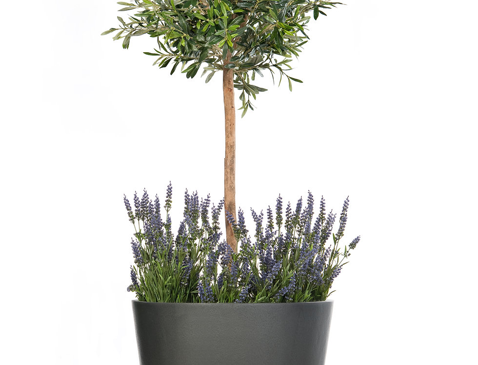 Artificial Olive Tree with Lavender and Geo Round Planter