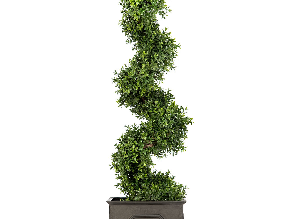 Artificial Spiral Box Tree with Stuart Planter