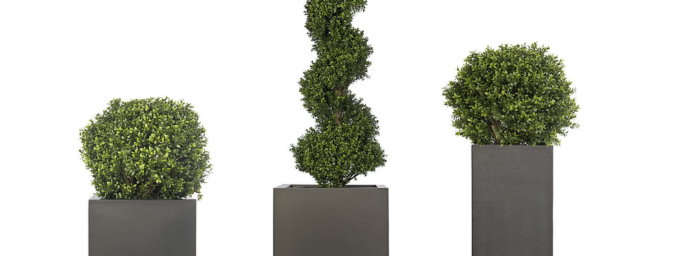 Special Offer: Artificial Box Balls and Spiral Box Tree with Geo Planters