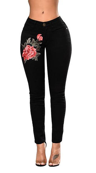 Women Flower Embroidered Jeans High Waist