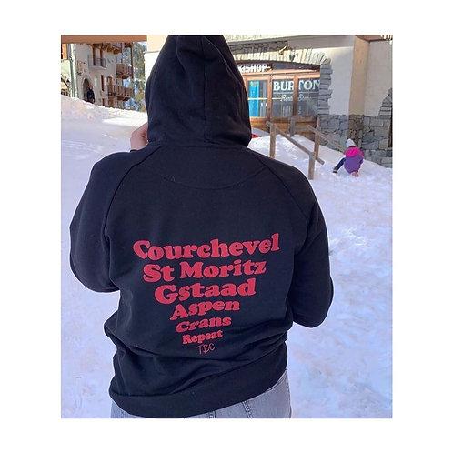 Hoodie Noir Stations de Ski