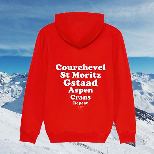 Hoodie Rouge Stations de Ski