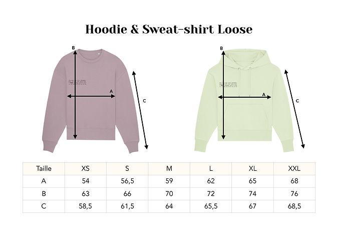 Modèle guide des tailles sweat & hoodie