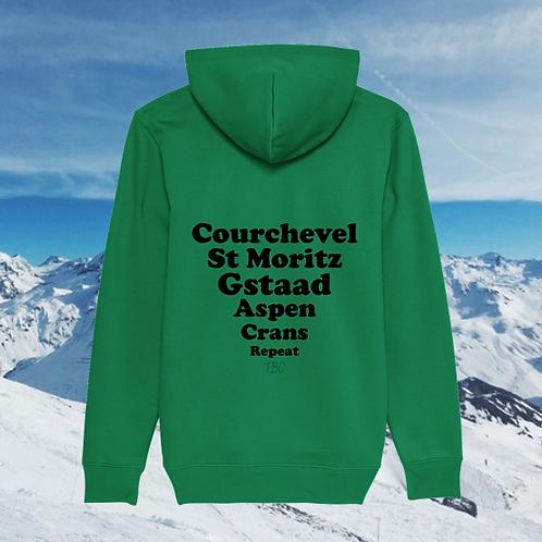 Hoodie Vert Stations de Ski