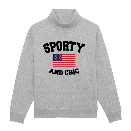 High Neck Sporty And Chic Sweat-Shirt