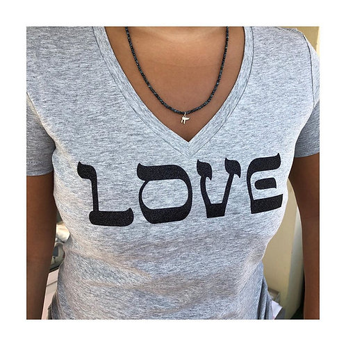 T-Shirt Femme Col V Glitter Pailleté