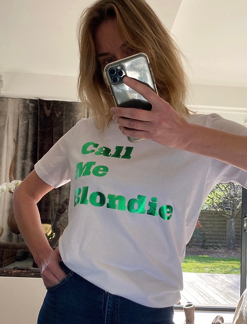 T-Shirt Call Me Blondie Metalisé