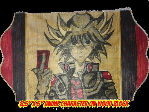 """Yami Yugi Art on Wood 8.5"""" x 5"""""""