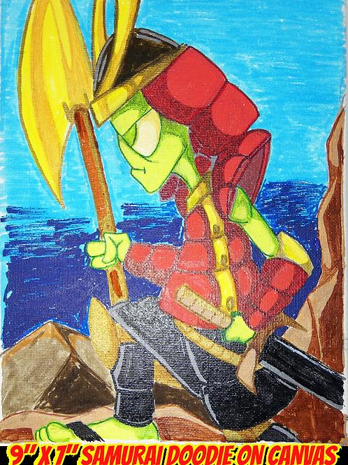 """Samurai Doodie Canvas Art 9""""x7"""""""