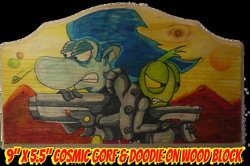 "Gotand Doodie Color Art on Wood 9""x5.5"""