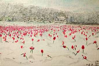 Landscapes, snow. The Tulips in Snow. By Alexandra Berezina.jpg