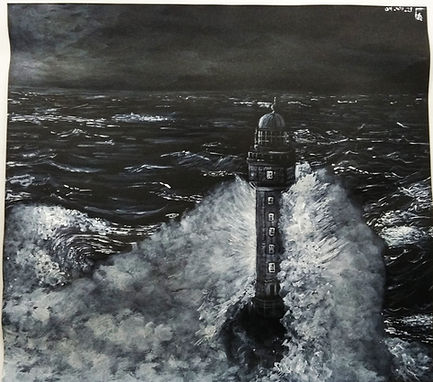The Lighthouse маяк гризайль