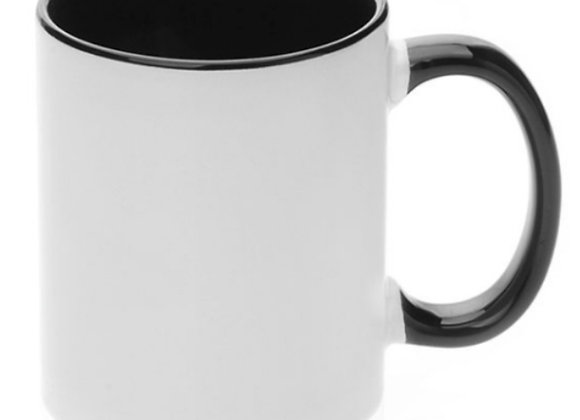 11oz White Mug with Black Handle and Interior