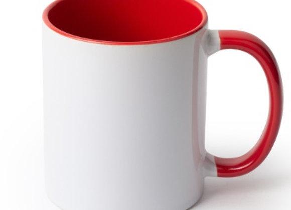 11oz White Mug with Red Handle+Interior