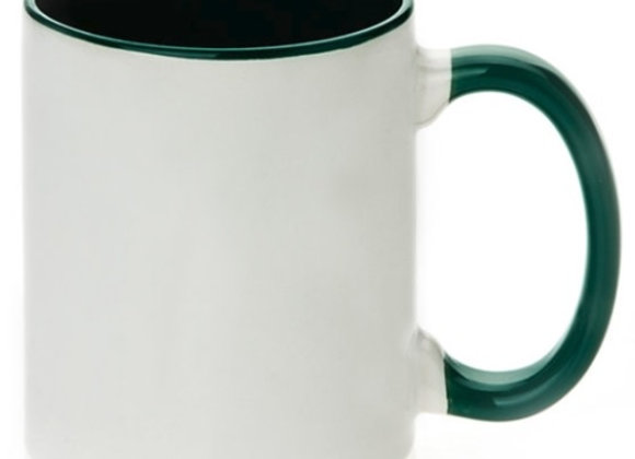 11oz White Mug with Green Handle+Interior