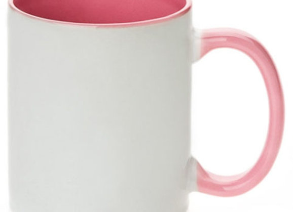 11oz White Mug with Pink Handle+Interior