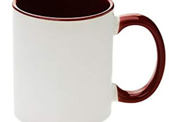 11oz White Mug with Maroon Handle+Interior