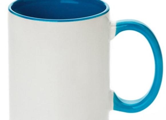 11oz White Mug with Blue Handle+Interior