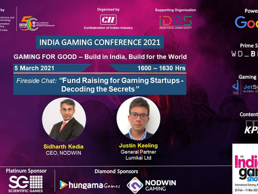 Fundraising for gaming startups - decoding the secrets: Indian Gaming Conference 2021
