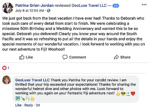 GeoLuxe Travel Testimonial | positive Facebook review | Luxury Travel Consultant