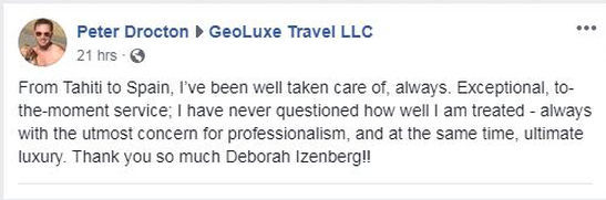 GeoLuxe Travel Testimonial | postitive Facebook review | Luxury Travel Consultant