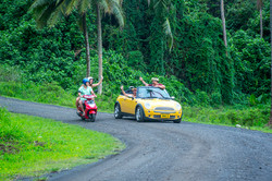 Cook Islands Trip Planner | GeoLuxe Travel | people driving in the rain forest