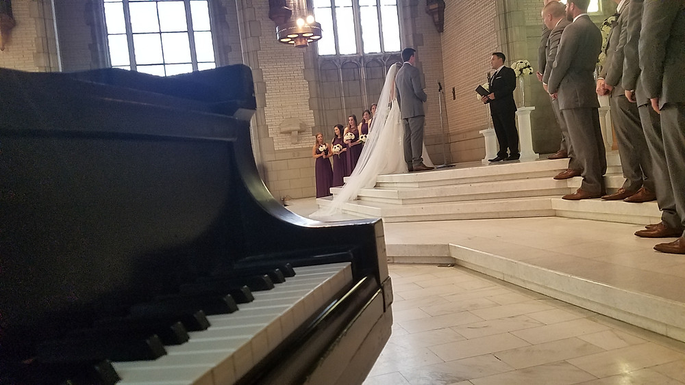 Pianist performing wedding music at UMSL in St Louis