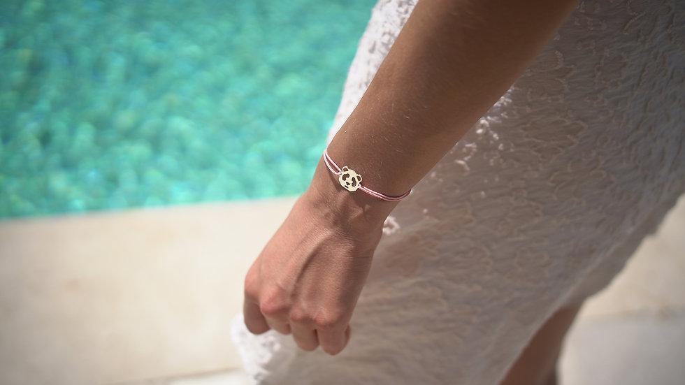 bracelet panda sur cordon rose