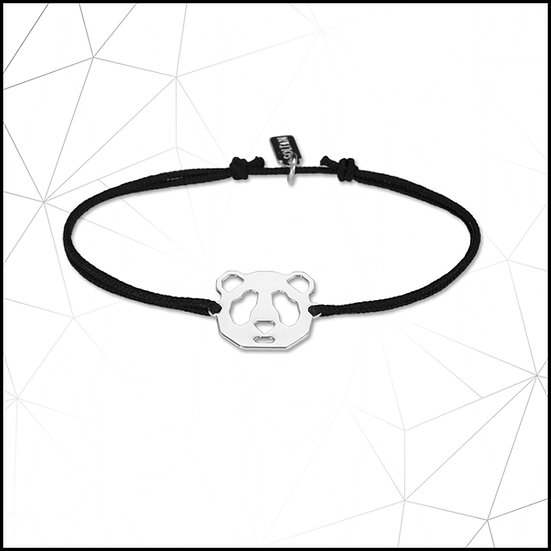 Bracelet panda sur cordon noir