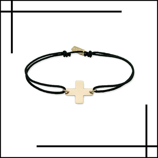 Bracelet cordon croix géométrique